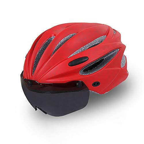HUACAGN 17 Lüftungsöffnungen Mountainbike Unisex Verstellbarer Helm Insgesamt Geformter Sporthelm Aus EPS Mit Polsterung (Farbe : Rot)