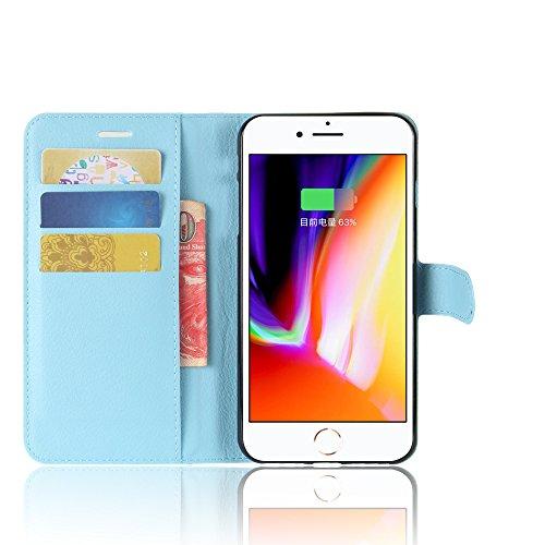 OFU® Pour Iphone 8 Plus Prime Coque,Étui en Cuir PU+TPU pour Iphone 8 Plus Prime Housse Coque Pochette Portefeuille de Protection Case Cas Cuir Etui,Il y a logistique des numéros de suivi(Iphone 8 Plu bleu