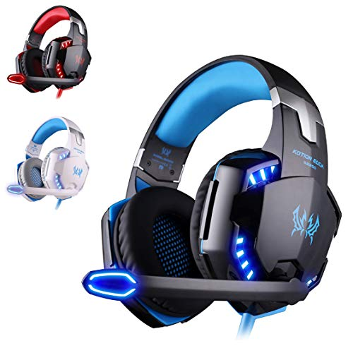 KATION Each G2200 Gaming Headset Stereo Gaming Headset Geräuschunterdrückung Wired PC Gaming Headset mit LED-Licht für Laptop / PS4 blau - Pc 2100 Laptop