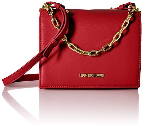Love moschino smooth pu, borsa a tracolla donna, (rosso), 8x15x21 cm (w x h x l)