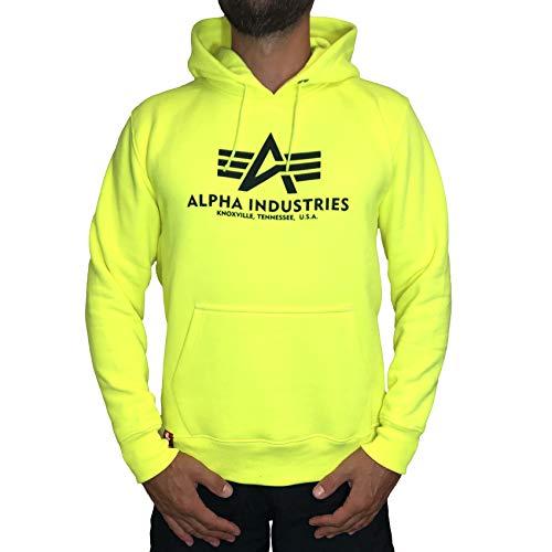 Alpha Industries Kapuzenpullover Basic orange braun rosa gelb schwarz weiß (M, Neon/Yellow) Hoodie Jacke Hose