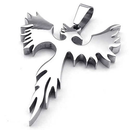 Collar - TOOGOO(R) Pendiente de Firebird Fenix de acero inoxidable de joyeria con 50 cm cadena, collar para hombre mujeres, Plata