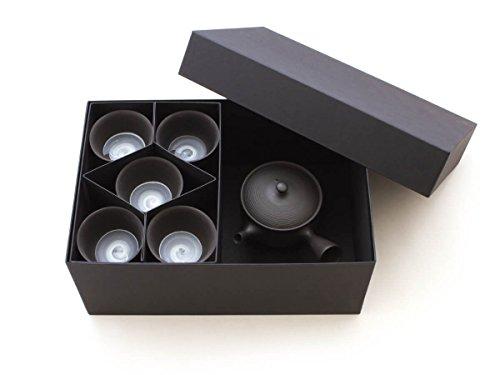 Gyokko - Japanisches Tee-Service 6-teilig. Teekanne Tokoname SENDAN Sen Maru mit 5 Teeschalen. Schwarz, Handmade auf der Töpfer-Scheibe, integriertes Keramik-Sieb