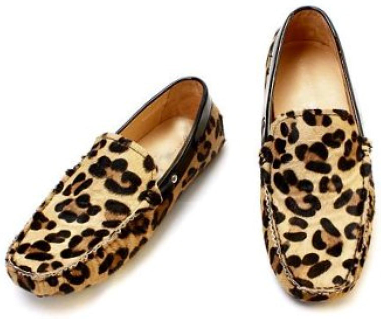 Fulinken Los hombres leopardo Haircalf piel confort Slip Ons Loafers conducción coche shoess