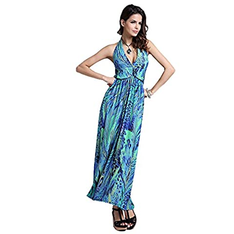 Years Calm Womens Peacock Pattern Bohemian Maxi Dresses Halterneck Backless Super soft fabric dress (One size, Blue)