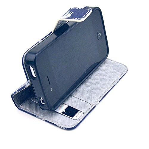 MOONCASE iPhone 4 Case Motif Conception Coque en Cuir Portefeuille Housse de Protection Étui à rabat Case pour iPhone 4 4S P68