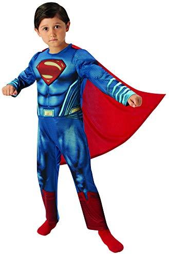Halloweenia - Jungen Kinder Superman Dawn of Justice Deluxe Kostüm mit Overall und Cape, perfekt für Karneval, Fasching und Fastnacht, 134-140, - Pinguin Deluxe Kind Kostüm