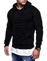 Yvelands Sweatshirt Outwear Moda para Hombres Guapo Hombro Plisado con  Capucha de Manga Larga Camiseta Blusa 899c189eebe9
