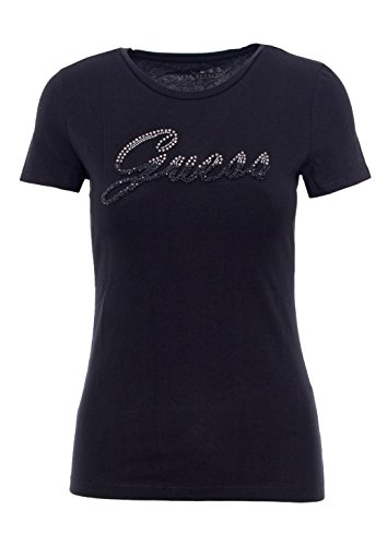 Kaufen Sie Authentic Promo-Codes Luxusmode Guess Women's SS RN Shiny Logo Tee T-Shirt, Schwarz (Jet ...