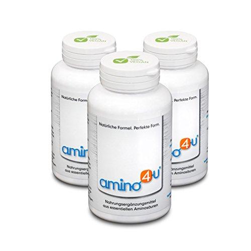 Amino4U Set Sparpaket alle 8 essentiellen Aminosäuren Muskelaufbau 3 x 120g Dose