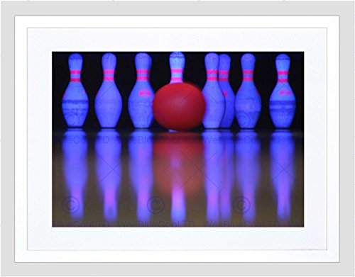 G NEON SKITTLES BALL BLACK FRAMED ART PRINT B12X13364 (Black Bowling Ball)