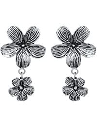 Voylla Floral Motif Hanging With Small Floral Pair Of Earrings In Oxidized Silver For Women