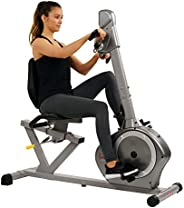 Sunny Health & Fitness Unisex Adult SF-RB4631 Recumbent Bike With Arm Exerciser - Silver, One