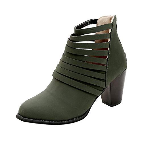 Vovotrade Damen Stiefeletten Ankle Boots Trendige Damen Stiefeletten Blockabsatz Plateau Vintage Frauen Herbst Schuhe Zipper Knöchel Runde Kappe Rom kurze Stiefel einzelne Schuhe