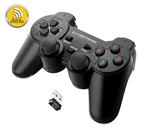 Esperanza GLADIATOR kabelloser Controller für PS3 (Playstation 3) Konsole, PC (Computer, Laptop), wireless mit USB Dongle
