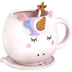 atisbo unicornio 500ml Sammeltasse 3tlg con asteriscos cuchara y plato de cerámica Elbenwald