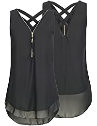 Juleya Camisa Mujer Grand Talla Blusas de Gasa Blusas de Sin Mangas Mini Vestidos Camisas Largas