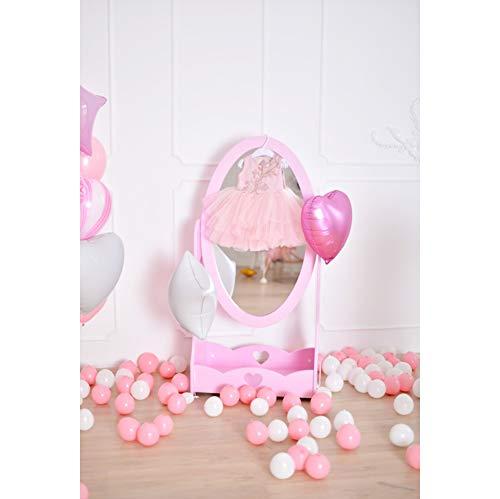 Cassisy 1x1,5m Vinyl Geburtstag Fotohintergrund Mädchen 1 Geburtstag Rosa Dekor Pastell Ballons Kleid Fotoleinwand Hintergrund für Fotostudio Requisiten Party Baby Kinder Photo Booth