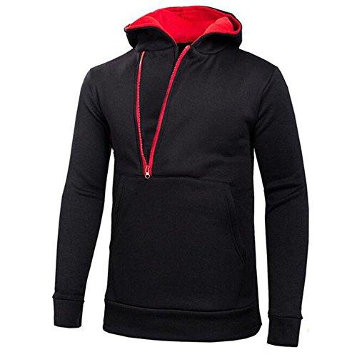 Beikoard piumone matrimoniale felpa con cappuccio da uomo a maniche lunghe felpa con cappuccio top cappotto giacca outwear(rosso,xxxl)
