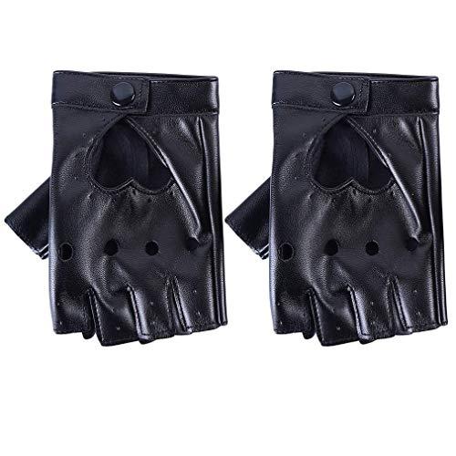 Ogquaton Premium Handschuhe Tanzzubehör Half Finger Handschuhe Punk PU Leder Performance Handschuhe Cosplay Kostüme Kunstleder Herren Damen Kinder Punk Rock Fashion Dance Kostüm Cosplay Rot Rotes He (Kinder Kostüm Punk Rot)