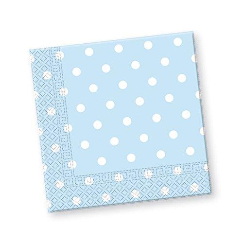 PARTY DISCOUNT Servietten Blaue Punkte, 33x33 cm, 20 Stück
