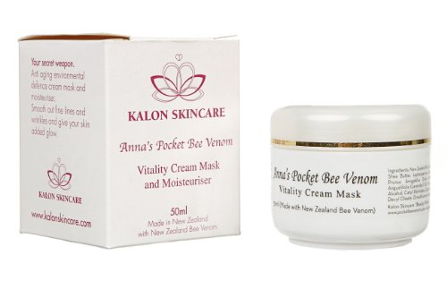Honey Bee Venom (Anna's Pocket Bee Venom Vitality Cream Mask, with Pure New Zealand South Island Bee Venom and Active Manuka Honey, 50ml (1.7oz) by Kalon Skincare)