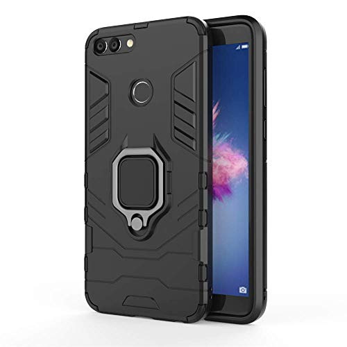 Huawei Enjoy 7S / P Smart Hülle, MHHQ Hybrid 2in1 TPU+PC Schutzhülle Rugged Armor Car Mount Case Cover Dual Layer Bumper Backcover mit Ständer für Huawei Enjoy 7S / P Smart -All Black