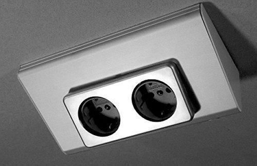 Unterbausteckdose 2-fach Wand Küchensteckdose Alu Energiebox *32830