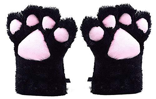 UPLEYING Pink Cat Paw Handschuhe Warm Mittens All Cover Cosplay Zubehör Mädchen Frauen Winter (Schwarz) (Halloween Cat Gloves Paw)