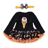 Riou Kinder Langarm Halloween Kostüm Top Set Baby Kleidung Set Kleinkind Kinder Baby Mädchen Kürbis Striped Print Langarm Halloween Kleid + Stirnbänder gesetzt Skelett (80, Schwarz)