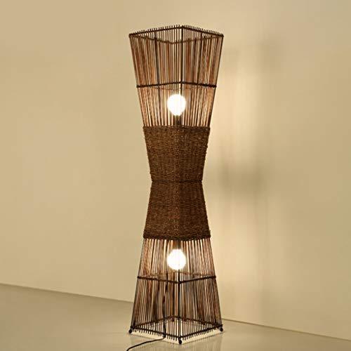 LEI ZE JUN UK Lámpara de Piso- Lámpara de pie de Madera de bambú japonés, lámparas de pie Modernas con luz Ascendente difusa Suave, lámpara de Mesa LED Vertical para Sala de Estar, dormitorios, ofici