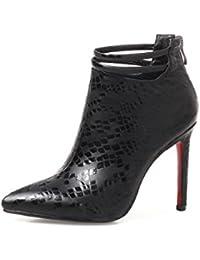MEI&S La mujer Tacones Stiletto botas zapatos de tobillo cabeza cuadrada