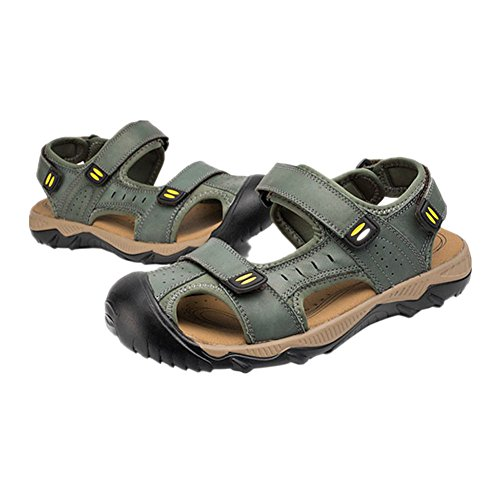 Haodasi Freizeit Männer Sommer Leder Strandschuhe Sandalen Draussen Hausschuhe Rutschfest Schuhe Khaki