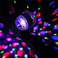 juman634 Disco Ball Lámparas E27 3W Doble Cabeza Rotary Cool Crystal Stage Light RGB LED Stage Light Pequeña Magic Ball Light para Fiesta de cumpleaños Fiesta de Halloween