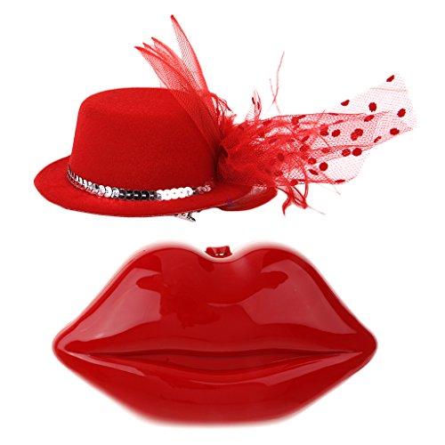 IPOTCH Rote Handtasche Clutch Lips Zeichnung + Net Cap Hats Abendkleid