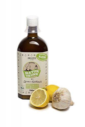 Bio! Renates NaturTrunk Nr.1 Zitrone + Knoblauch, Kur, 1x 700ml, PZN 04712890, DE-ÖKO-006, handwerklich hergestellt in kleinen Stückzahlen mit von Hand geschältem Knoblauch. Glasflasche!
