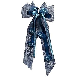Große Schultütenschleife blau mit Blüten