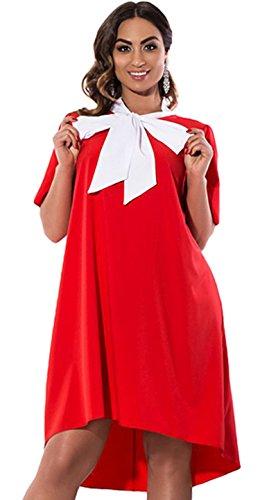 DD UP Damen Übergröße Kleid Rundkragen Lose Krawatte Skater Swing Kleider Kurzer Rock Rot