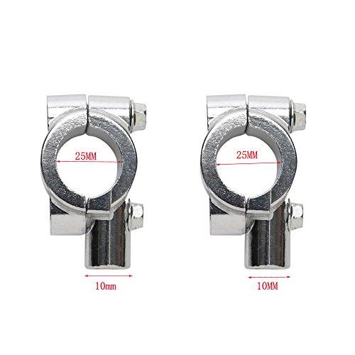 ICTRONIX - Par de abrazadera para espejo universales de 10mm para motocicleta, soporte de espejo, soporte de espejo para rosca derecha de 25mm, manillar, pinza, cromo