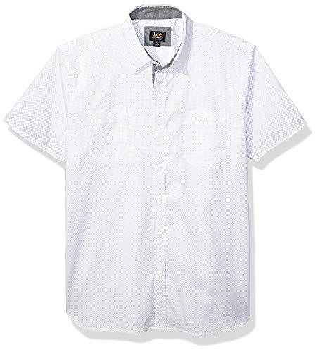 Lee Herren Short Sleeve Dress Shirt Camp Regular Big Tall Button Down Hemd, Stanley White, Klein - Big And Tall Men ' S Dress Shirts