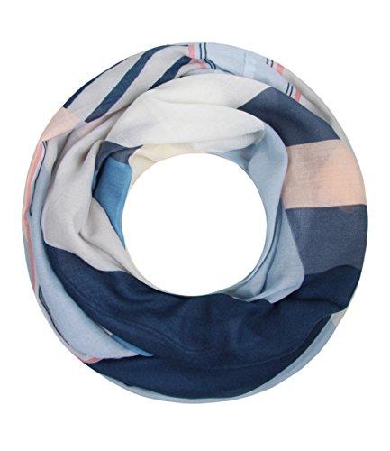 Majea NEUE Saison Damen Loop Schal viele Farben Muster Schlauchschal Halstuch in aktuellen Trendfarben (blau 19) (Große Karo-stoff)