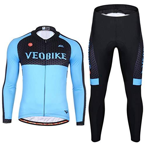 Epinki Herren Frühling Sommer Herbst Fahrradtrikot Blau Radfahren Jersey Atmungsaktiv Schnell Trocken Sports Fahrradshirts + Fahrradhosen Größe XXL (98-jersey Frankreich)