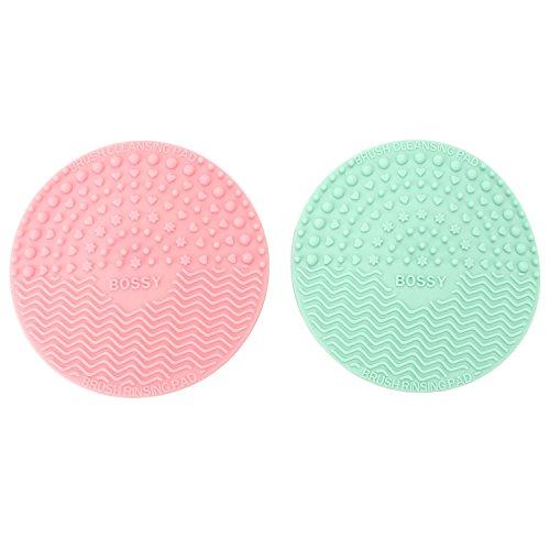 Pinzhi -2pcs Mini Tapis Silicone pour Nettoyage de Pinceaux à Maquillage Nettoyeur Brosse de Maquillage avec Ventouse - Rose+ Bleu