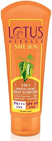 Lotus Herbals Safe Sun 3-In-1 Matte Look Daily Sunblock SPF-40, 50g