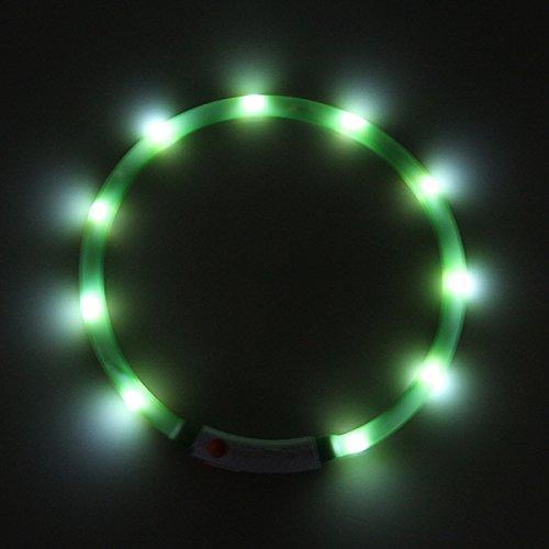 LED USB Halsband Silikon Hundehalsband Leuchthalsband für Hunde Haustier Katzen aufladbar per USB (Größe S-L auf 18-65 cm individuell kürzbar) in grün von der Marke PRECORN - 5