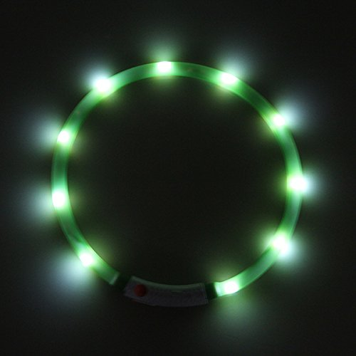 PRECORN LED USB Halsband Silikon Hundehalsband Leuchthalsband für Hunde aufladbar per USB (Größe S-L auf 18-65 cm individuell kürzbar) in grün - 2