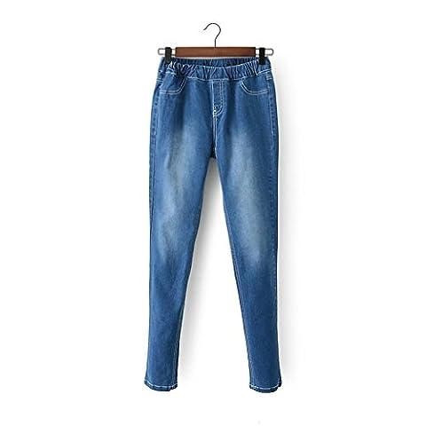 Byjia Stretch Denim Bleu Bootcut Jeans Féminin Détruire Pantalon Skinny Slim Poche Classique Bouton Longue Lâche De Couleur Unie Occasionnel Profond Haute Taille Élastique .
