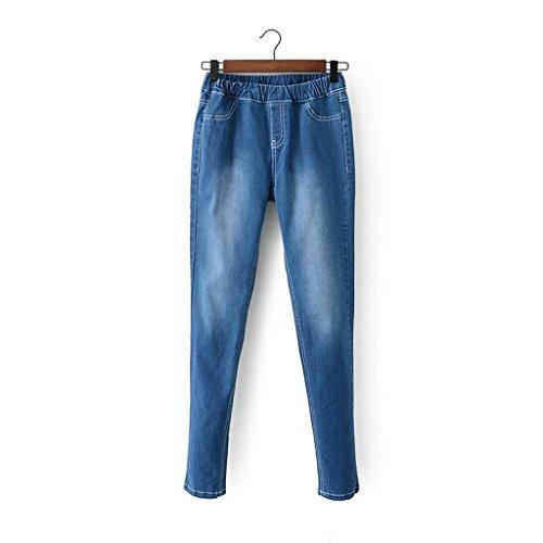 Byjia Distruggere Elasticizzato Blu Denim Bootcut Jeans Donna Pantaloni Skinny