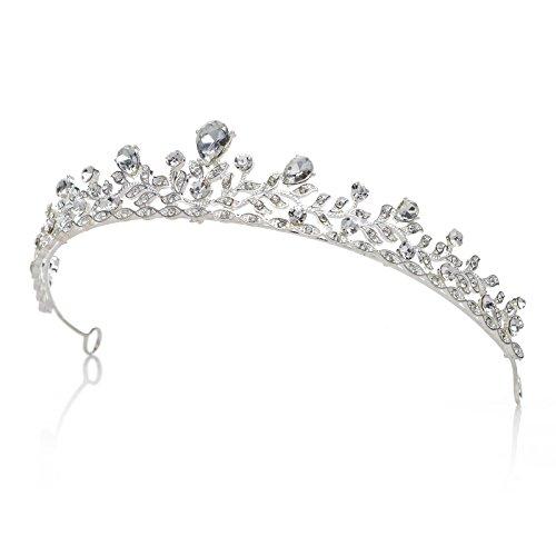 SWEETV Retro Stil Kristalle Prinzessin Krone Strass Braut Tiara Festzug Prom Hochzeit Diadem, (Kostüm Krone Diadem)