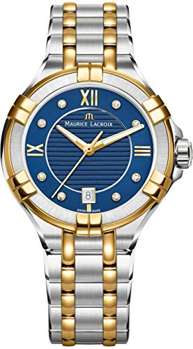 Maurice Lacroix Aikon Ladies Quartz Watch, Blue, 35 mm, Diamonds, Gold PVD